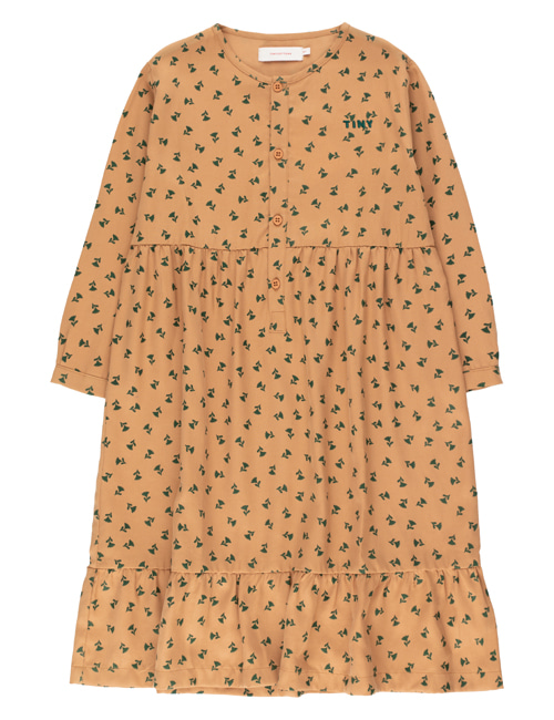 "[TINY COTTONS]  ""TINY FLOWERS"" DRESS _ light brown/dark green [10Y]"