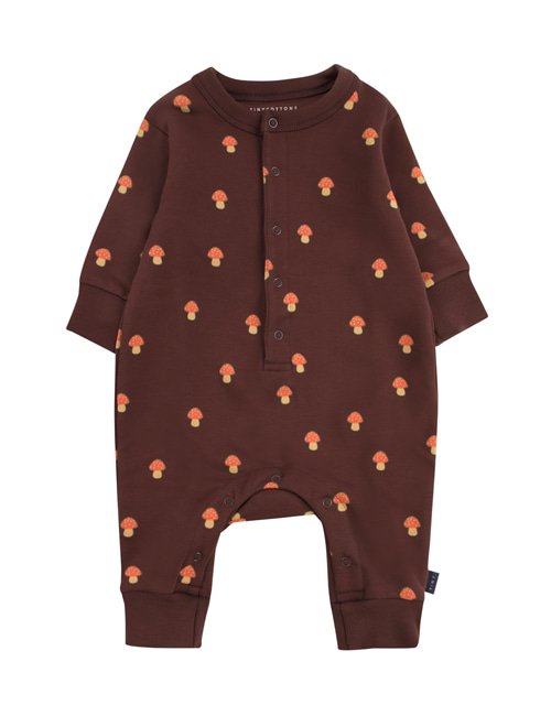 "[TINY COTTONS]  ""MUSHROOMS"" ONE-PIECE _ ultra brown/red [6M]"