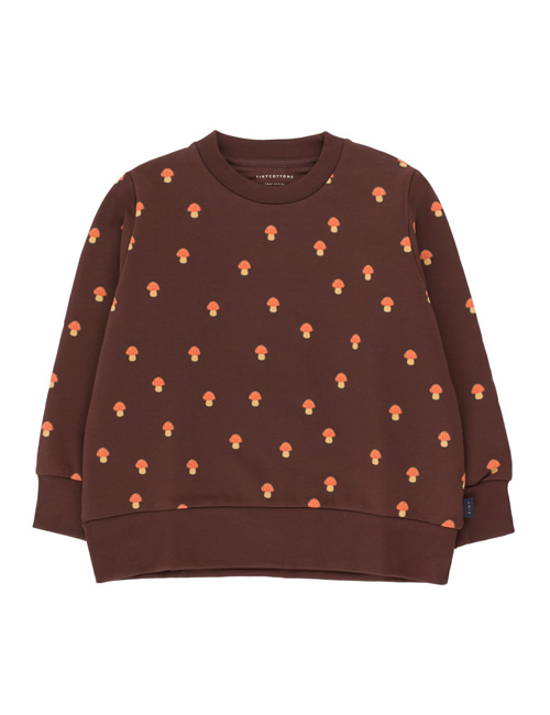 "[TINY COTTONS]  ""MUSHROOMS"" SWEATSHIRT _ ultra brown/red [6Y,  12Y]"