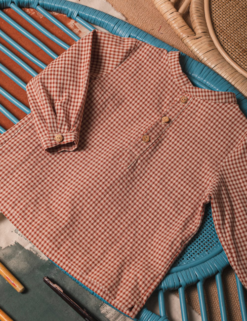 [BIRINIT PETIT] Small tile gingham shirt [4Y, 5Y, 6Y]