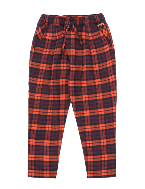 [TINY COTTONS]  CHECK PLEATED PANT _ navy/red [8Y]