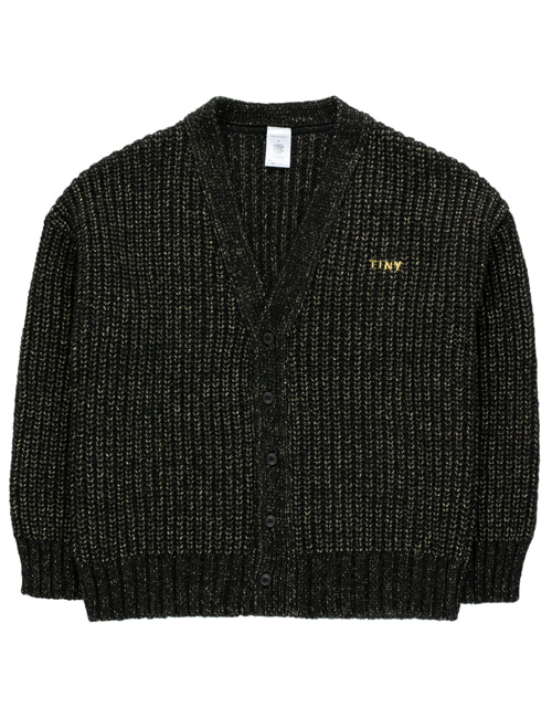 "[TINY COTTONS]  ""TINY"" SHINY CARDIGAN _ black[8Y]"