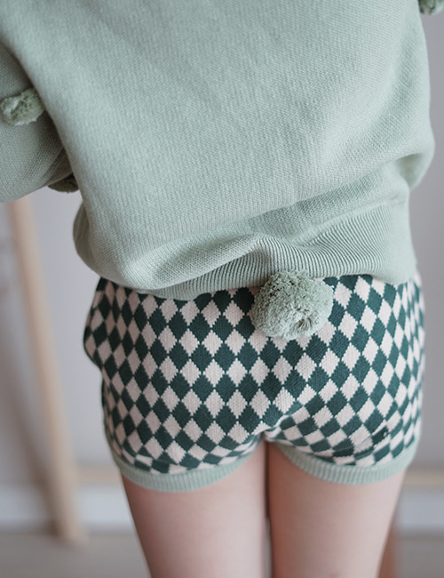 [MES KIDS DES FLEURS] diamond-pattern shorts _ Green [L]