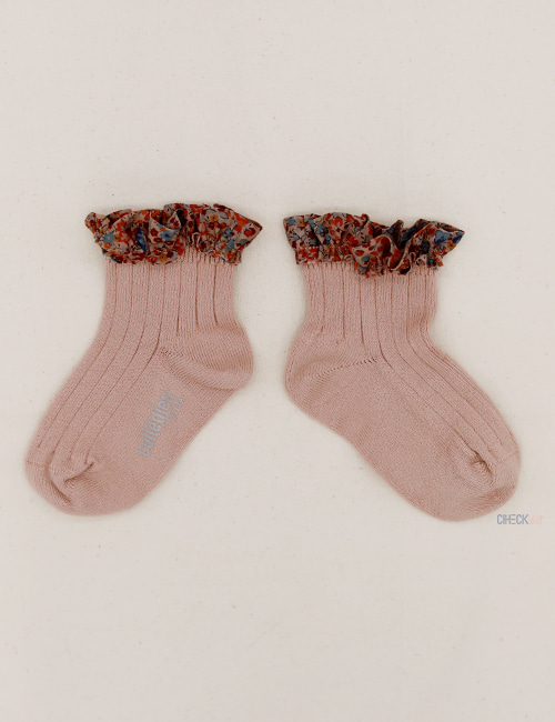 [COLLEGIEN]Liberty Frii trim ankle socks _ Vieux rose(no.331) [24/27, 28/31, 32/35]