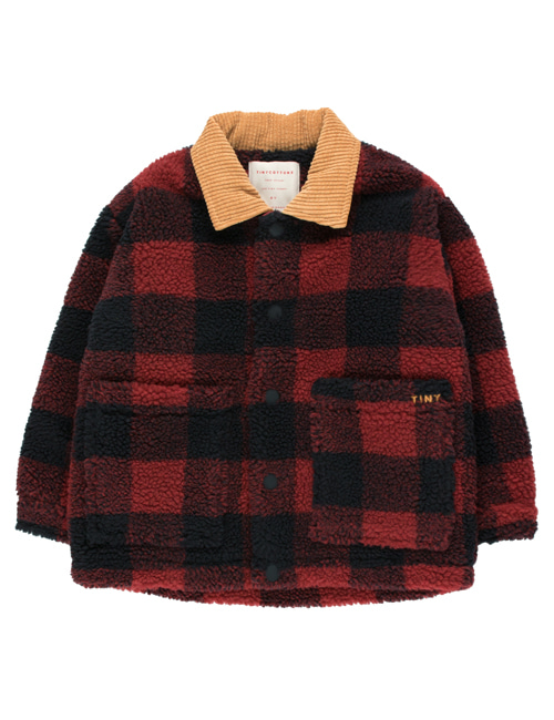 [TINY COTTONS] CHECK SHERPA JACKET _ burgundy/navy [2Y]