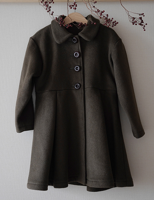 [MES KIDS DES FLEURS] Single breasted coat _ Green [90, 100, 110, 120, 130]