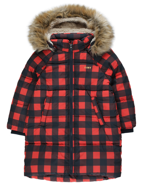 [TINY COTTONS] CHECK PADDED JACKET _ navy/red [4Y]