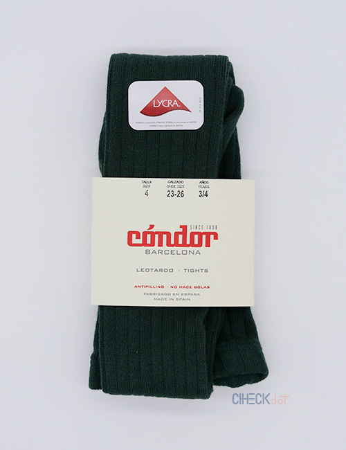 [CONDOR] BASIC RIB TIGHTS _ BOTTLE GREEN (780) [4Y]