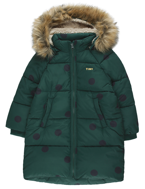 "[TINY COTTONS] ""BIG DOTS"" PADDED JACKET _ dark green/black  [6Y]"