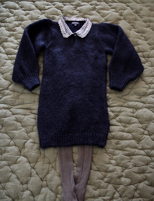 [BONJOUR DIARY] Dress with embroidered collar _ Black [4Y]