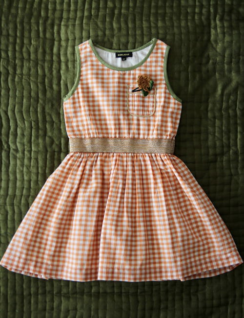 [BONJOUR DIARY] Derbardeur dress _ Orange check [2Y, 4Y, 6Y, 8y, 10Y]