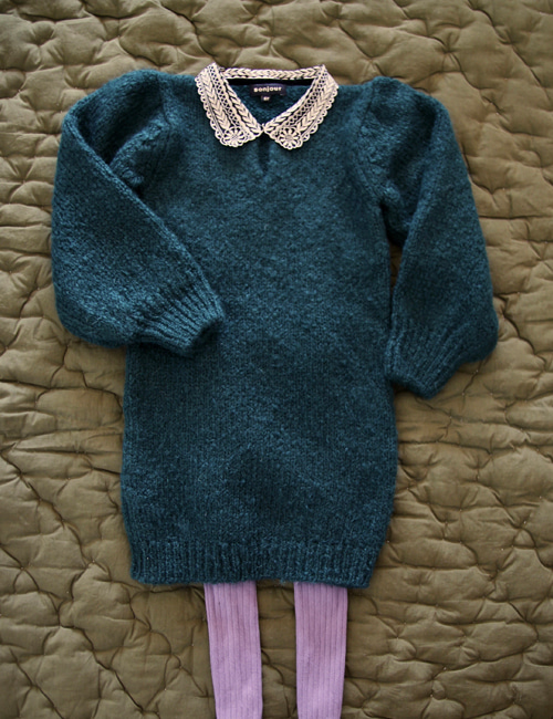 [BONJOUR DIARY] Dress with embroidered collar _ Moss green [ 4Y, 6Y]
