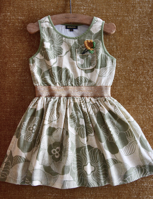 [BONJOUR DIARY] Derbardeur dress _ Moss green flower print [2Y, 4Y, 8y, 10Y]