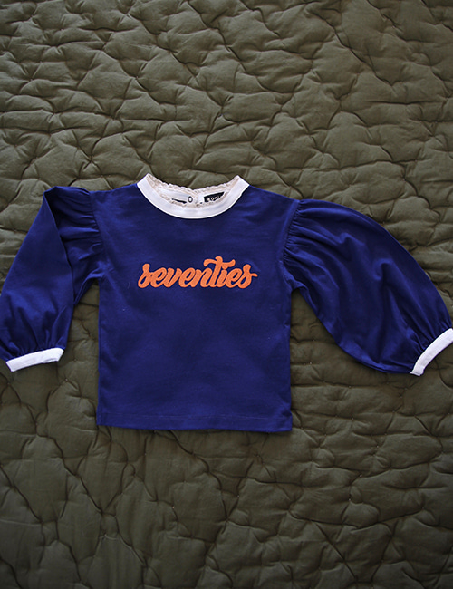 [BONJOUR DIARY] T shirt ballon sleeves indigo blue _ Solid blue   [2y,4y,8y,10y]