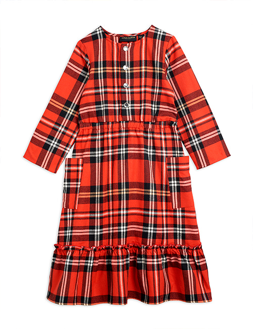 [MINI RODINI] Woven flanell flounce dress _ Red [92/98, 104/110]