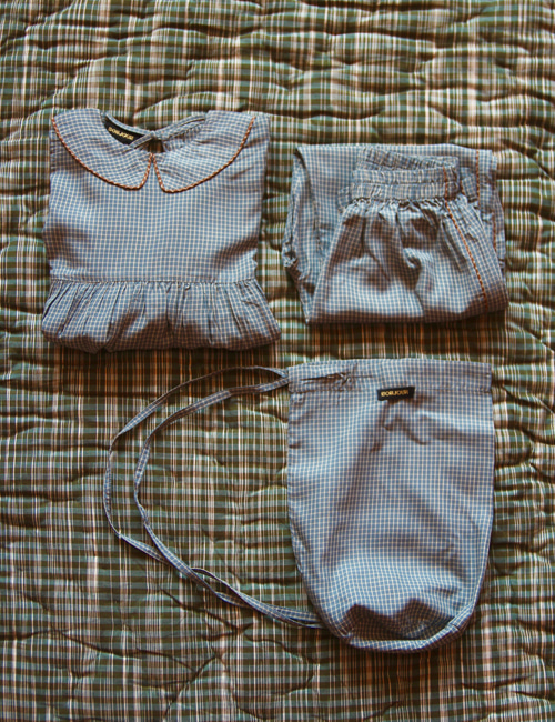 [BONJOUR DIARY] Girl pyjama set with bag _ Blue check [4Y, 6Y, 8y, 10Y]