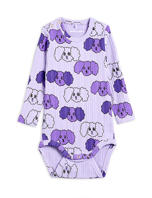 [MINI RODINI] Fluffy dog aop ls body _ Purple [68/74, 80/86]