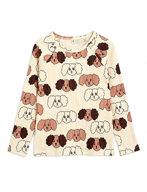 [MINI RODINI] Fluffy dog aop ls tee _ Beige [80/86, 104/110, 116/122]