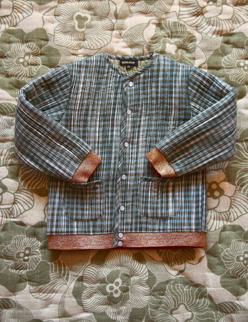 [BONJOUR DIARY] Quilted Jacket with Cotton filling _Ikat check [2Y, 4Y, 6Y, 8y, 10Y, 12Y]