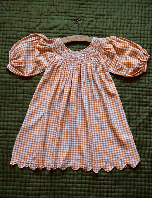 [BONJOUR DIARY] Butterfly dress with balloon sleeve _ Orange check [2Y,4Y,6Y, 8y, 10Y]