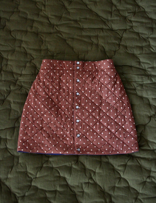 [BONJOUR DIARY] Quilted skirt _ Ecru dots on brown jersey  [2Y, 6Y, 8Y]