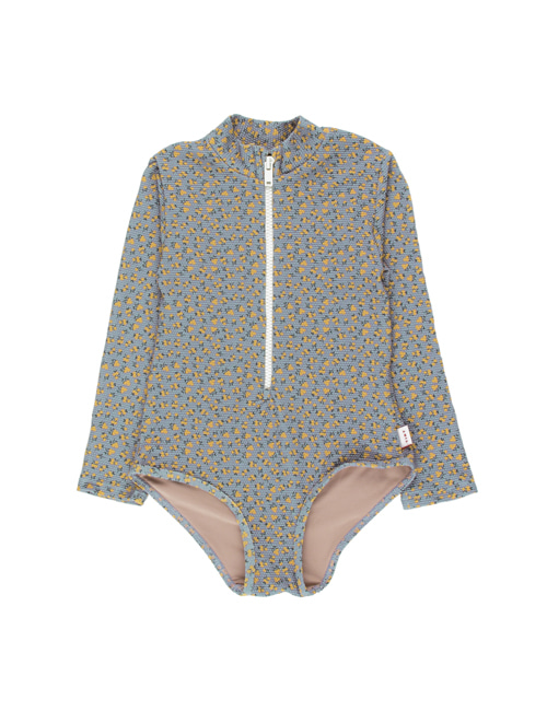 [TINY COTTONS]  SMALL FLOWERS LS ONE-PIECE _ summer grey/yellow[4Y, 6Y]