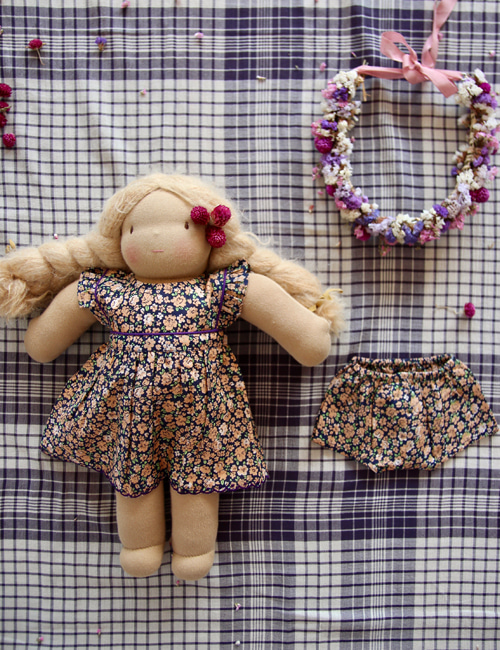 [BONJOUR DIARY] Doll dress with panty _ Blue flowers print[S, M]