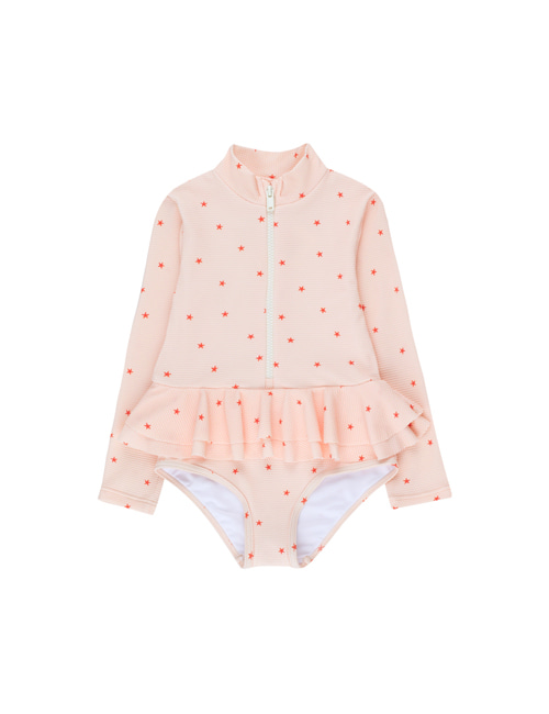 [TINY COTTONS]  STARFISH FRILLS LS ONE-PIECE _ pastel pink/red[4Y, 6Y]